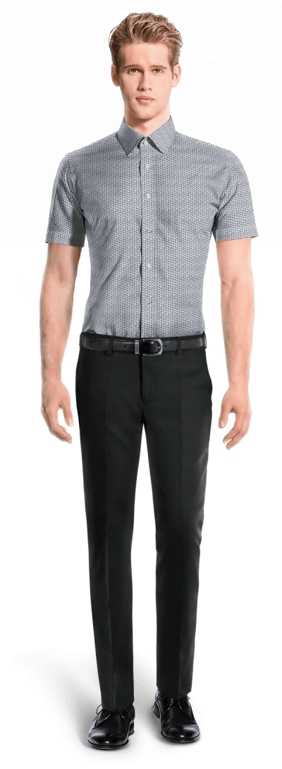 White short sleeved micropattern 100% cotton Shirt