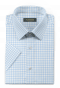 Blue short sleeved checked 100% cotton Shirt-folded
