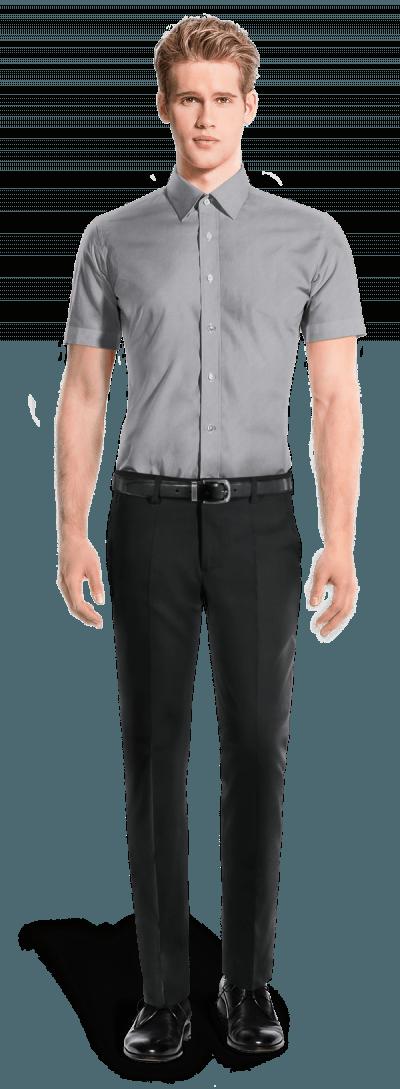 Grey short sleeved oxford Shirt