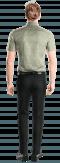 зелёная хлопковая рубашка с коротким рукавом с цветочным рисунком-Вид сзади