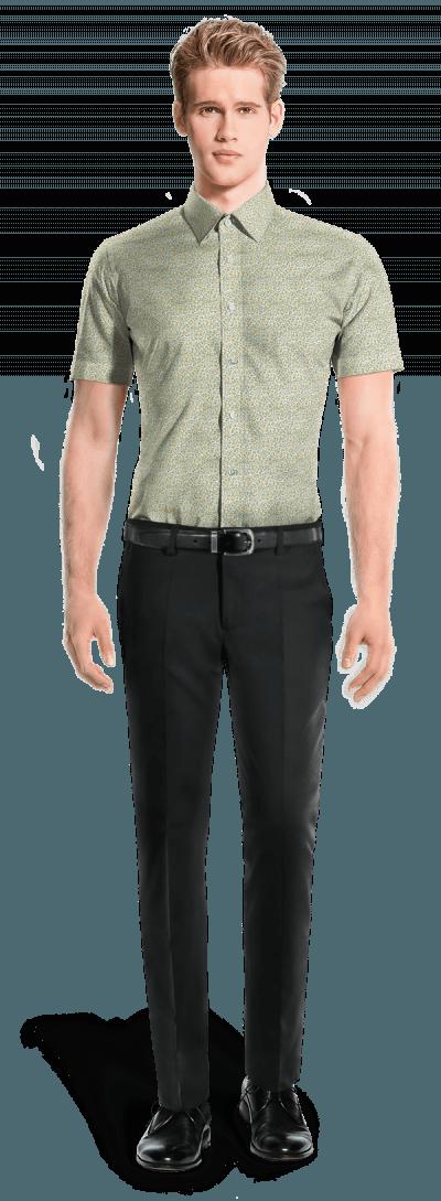 зелёная хлопковая рубашка с коротким рукавом с цветочным рисунком