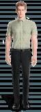 зелёная хлопковая рубашка с коротким рукавом с цветочным рисунком-Вид спереди