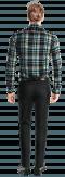 Chemise bleue en flanelle à carreaux-Vue Dos
