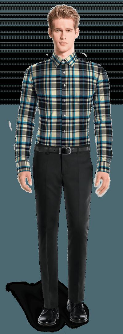 Chemise bleue en flanelle à carreaux