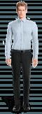 Chemise bleue à carreaux 100% coton-Vue Avant
