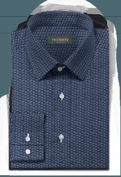 Chemise bleue paisley 100% coton