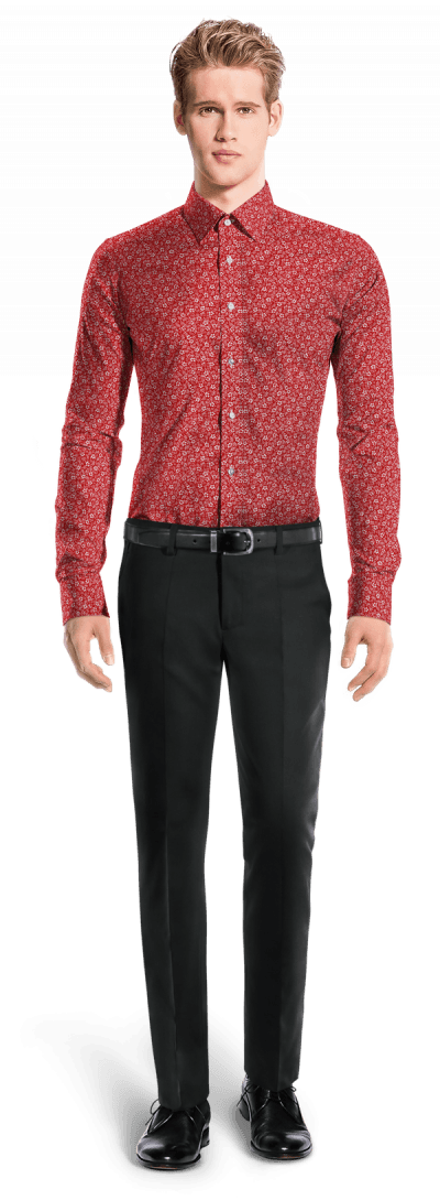 Camicia rossa floreale 100% cotone