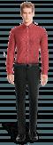 Camicia rossa floreale 100% cotone-Vista Frontale