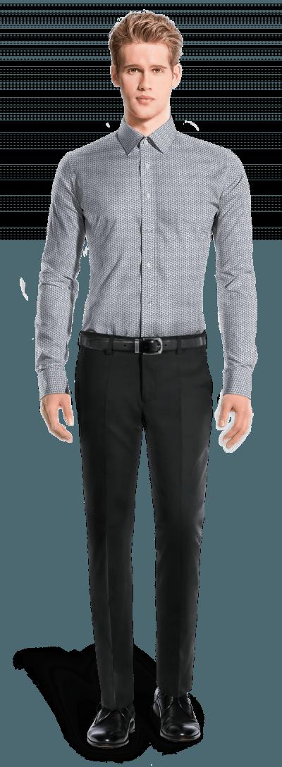 Weißes kleinmuster Hemd mit Umschlag & aus Baumwolle