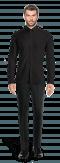 Camicia nera di lino-Vista Frontale