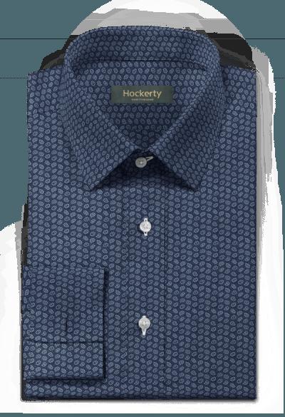 Chemise bleue boutons de manchette paisley 100% coton