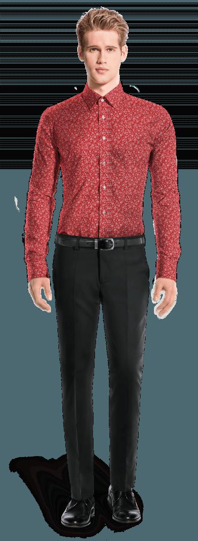красная хлопковая рубашка с запонками с цветочным рисунком