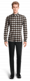 Brown checked linen Shirt-View Front