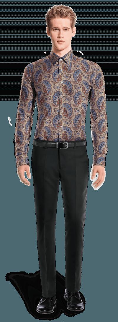 Beige paisleymuster Hemd aus Baumwolle