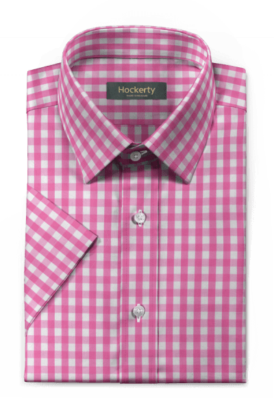 Pink short sleeved checked 100% cotton Shirt