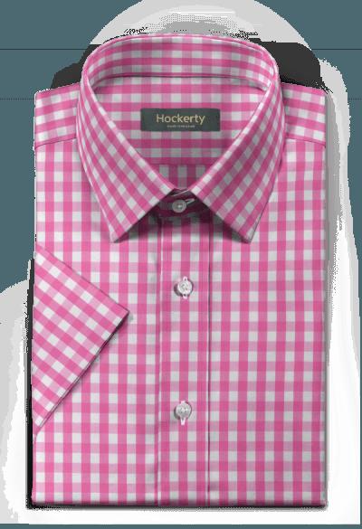 Chemise rose manches courtes à carreaux 100% coton