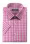Pink short sleeved checked 100% cotton Shirt-folded