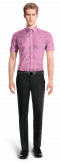 Pink short sleeved checked 100% cotton Shirt-View Front