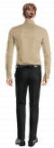 Camisa beige de lino-Vista Trasera