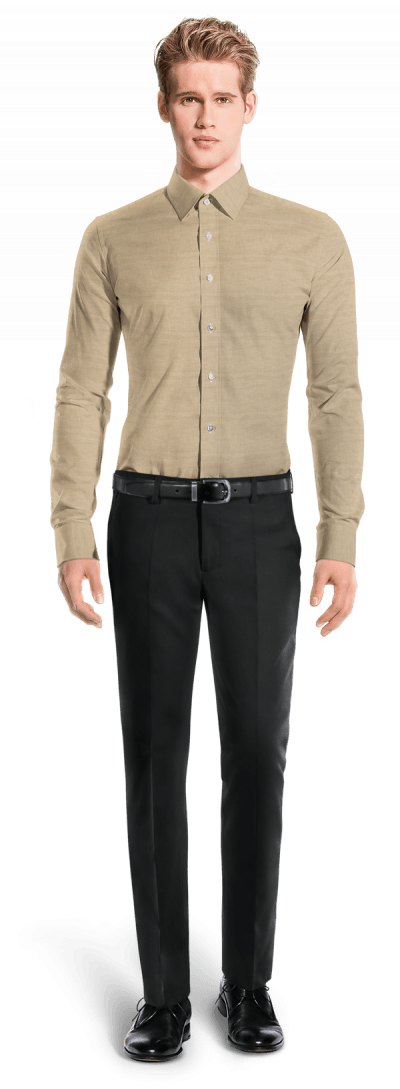 Camisa beige de lino