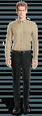 Camicia beige di lino-Vista Frontale