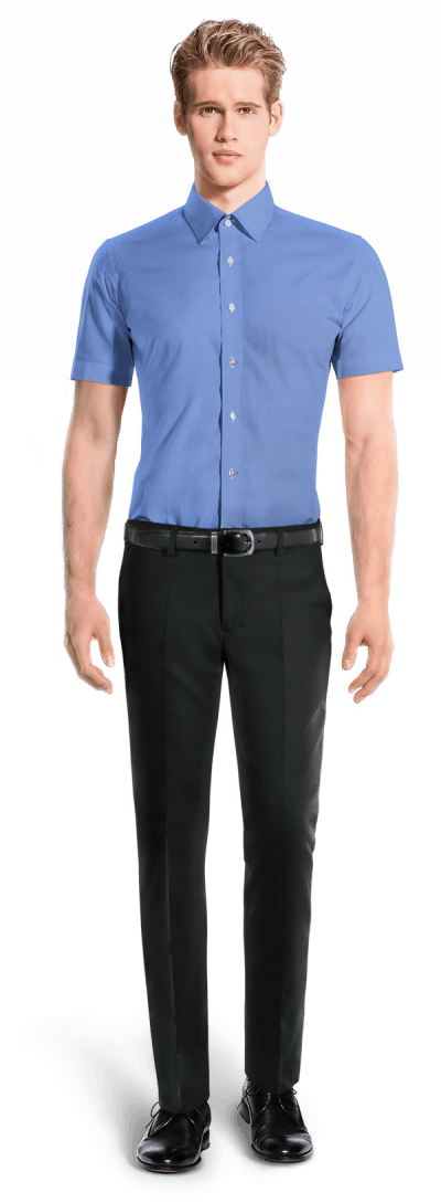 Blue short sleeved 100% cotton Shirt