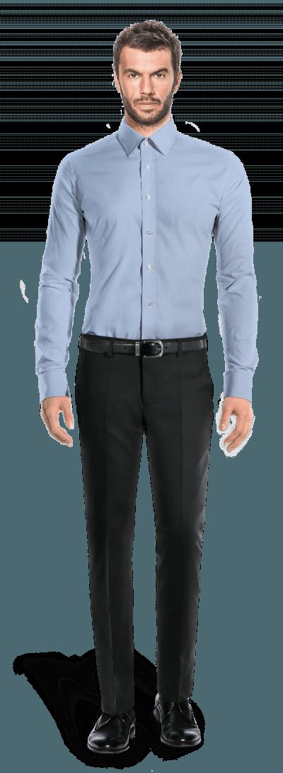 Blaues Hemd mit Umschlag