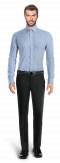 синяя рубашка с запонками-Вид спереди