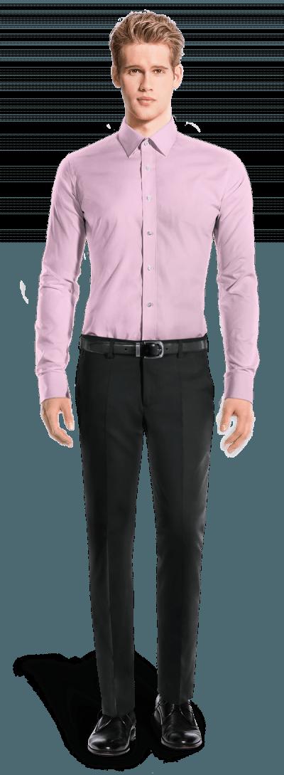 розовая хлопковая рубашка с запонками