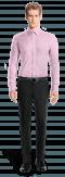розовая хлопковая рубашка с запонками-Вид спереди