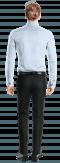 синяя хлопковая рубашка с запонками-Вид сзади