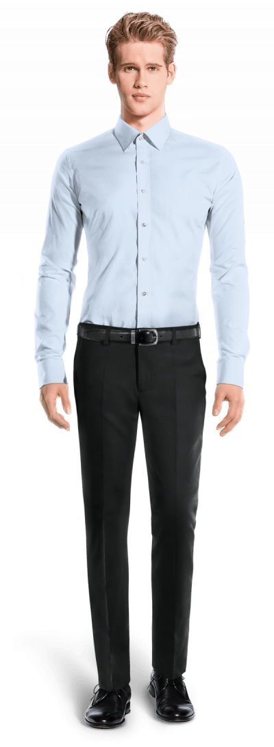 синяя хлопковая рубашка с запонками