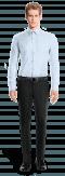 синяя хлопковая рубашка с запонками-Вид спереди
