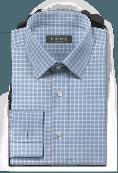 Camicia gemelli blu a quadri di lino