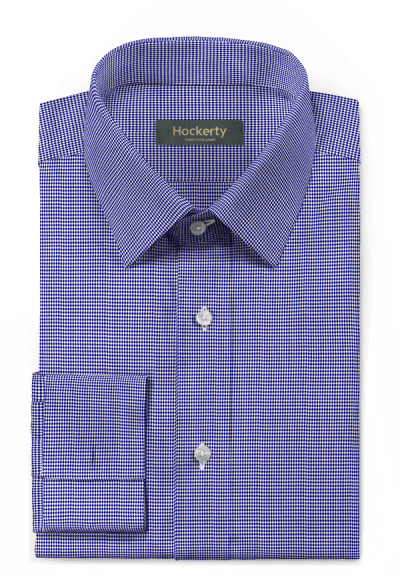 Blue french cuff Houndstooth 100% cotton Shirt