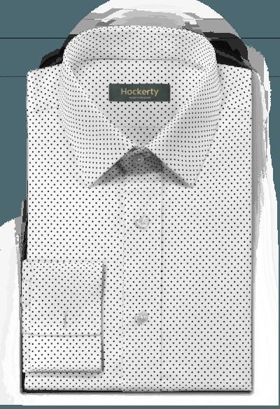 Chemise blanche boutons de manchette à pois 100% coton