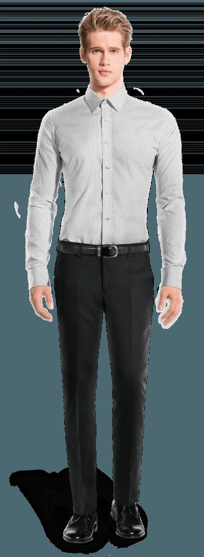 Weißes punktmuster Hemd mit Umschlag & aus Baumwolle