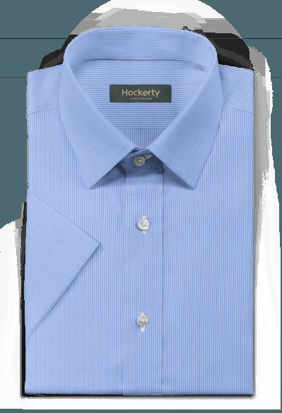 Chemise bleue manches courtes à rayures 100% coton