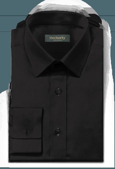 Schwarzes Hemd mit Umschlag & aus Leinen