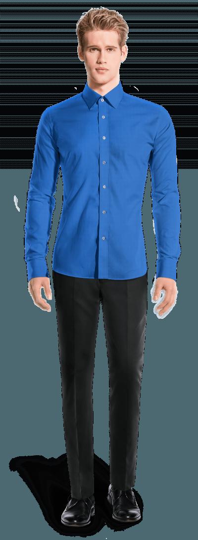Camisa azul con gemelos 100% algodón
