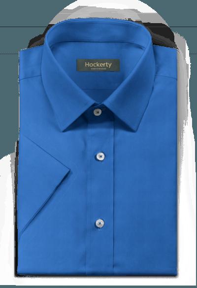 Chemise bleue manches courtes 100% coton