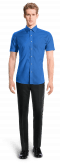 Blue short sleeved 100% cotton Shirt-View Front