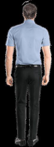 Chemise bleue manches courtes-Vue Dos