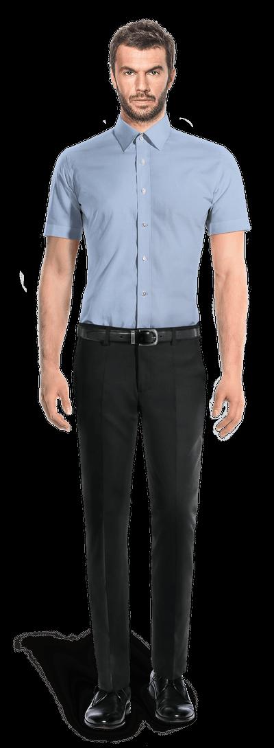 Chemise bleue manches courtes