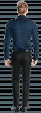 Chemise bleue boutons de manchette à motif floral 100% coton-Vue Dos