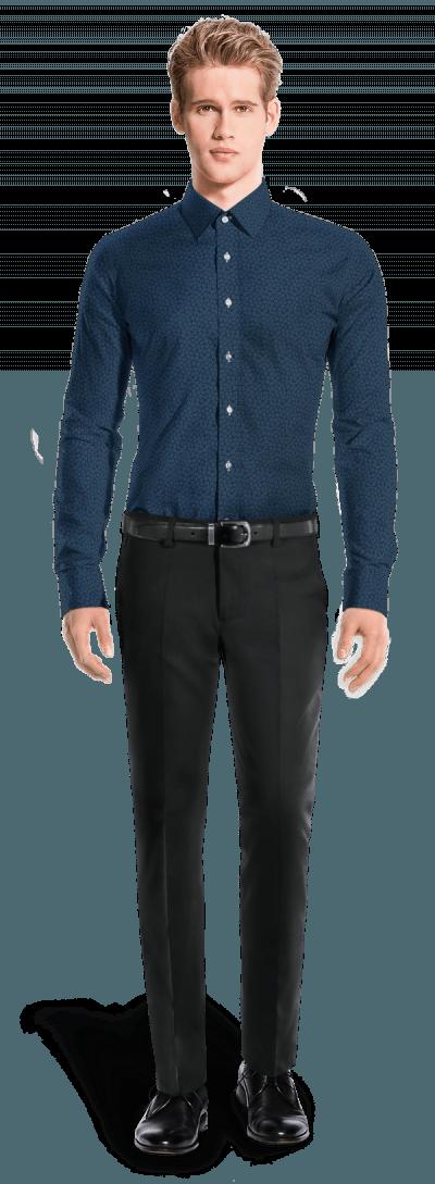 Chemise bleue boutons de manchette à motif floral 100% coton