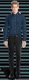 Chemise bleue boutons de manchette à motif floral 100% coton-Vue Avant