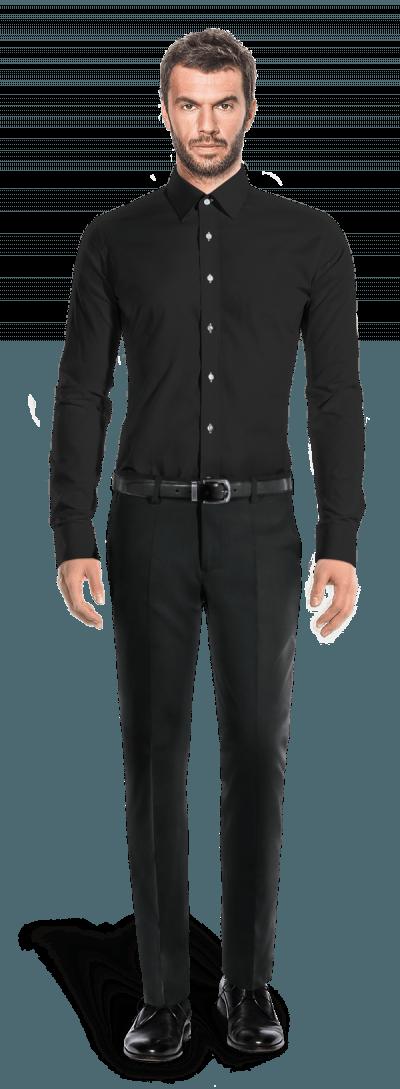 Chemise noire boutons de manchette 100% coton