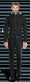 Chemise noire boutons de manchette 100% coton-Vue Avant