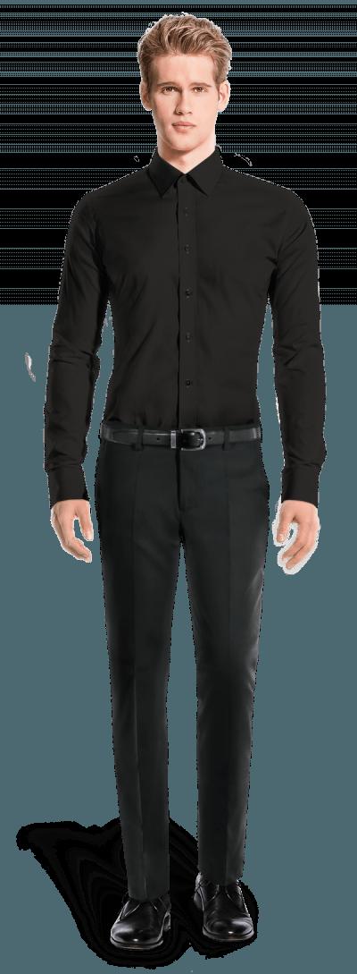 Chemise noire boutons de manchette